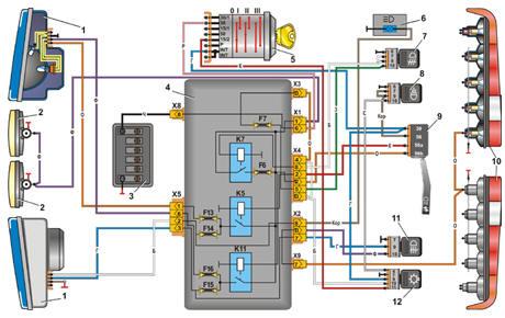 Схема включения фар и фонарей