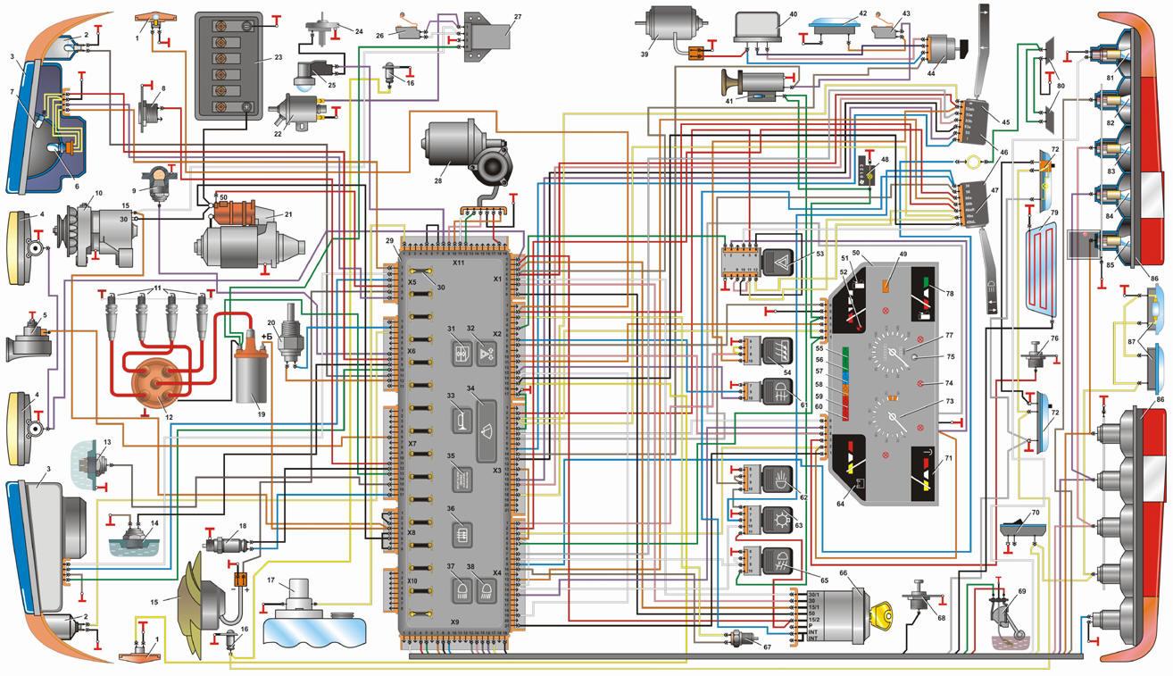 Электропроводка трактора МТЗ 82 и ее цветная схема.